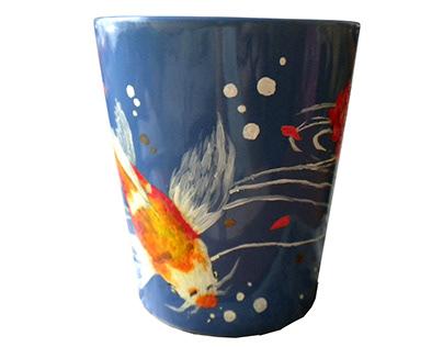 Mug with hand-painted koi fish