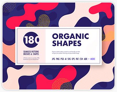 Organic shapes bundle –180 textures, brushes & elements