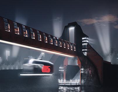 Retro-futuristic bridge