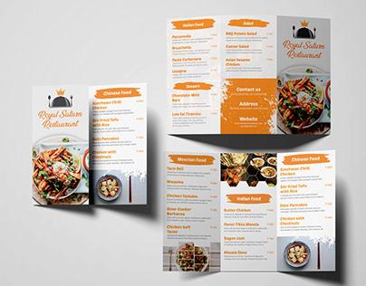 Tri-fold Restaurant Menu Card