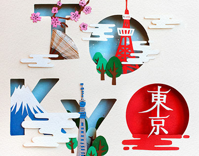 3D Cutout Paper Typography / TOKYO