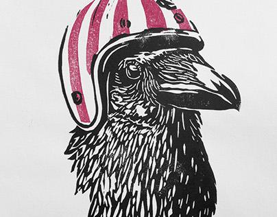 Crow Linocut Print