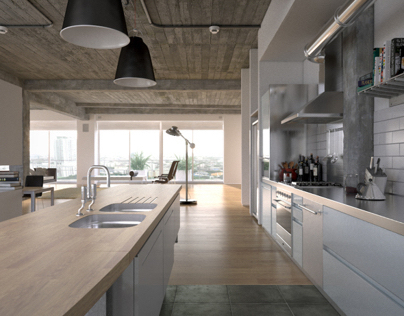 3d kitchen on behance for Interior design jobs in florence italy