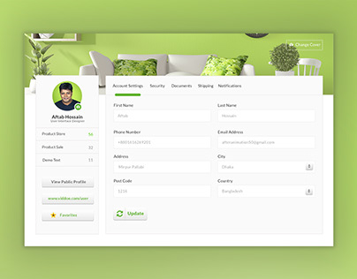 Account Setting Page design