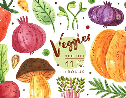 Veggies watercolor clipart illustrations
