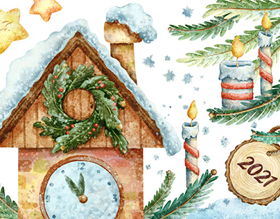 Winter time and Christmas mood - watercolor style set
