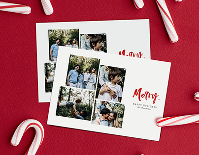 Photo Collage Christmas Card Template - Simply Merry