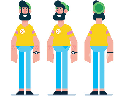 Flat Design 3 Sides Man Character Illustration