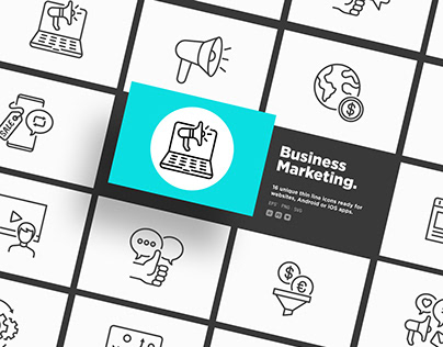 Business Marketing | 16 Thin Line Icons