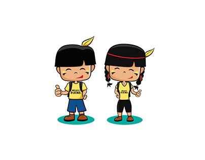 Mascotes Indiada Buena - Ilustração