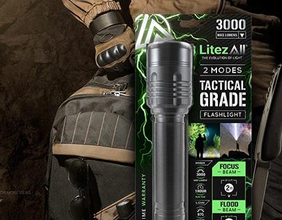 LitezAll, Tactical Grade flashlight, packaging design
