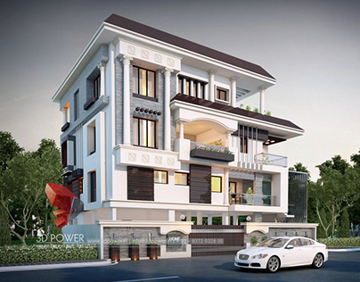 3D Exterior Rendering for Luxurious Bungalow
