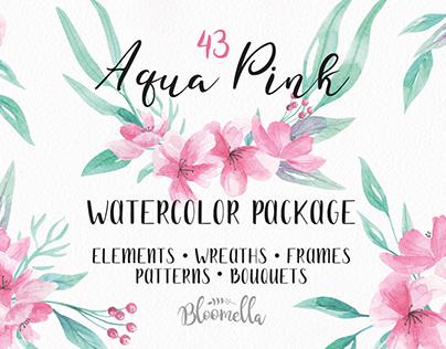 Watercolor Flower Aqua Pink Package on Creative Market