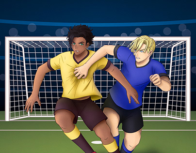 Ilustración digital de Claude y Dimitri jugando fútbol