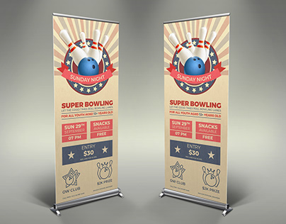 Bowling Signage Banner Roll Up Template