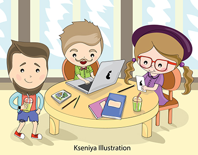 Illustration of programmers and designers painted.