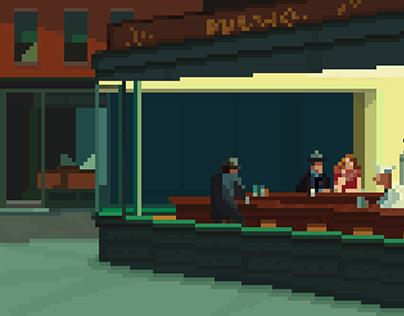 Edward Hopper - Nighthawks Pixel Art
