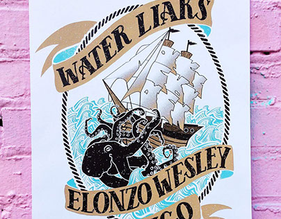 Water Liars screen print poster colab