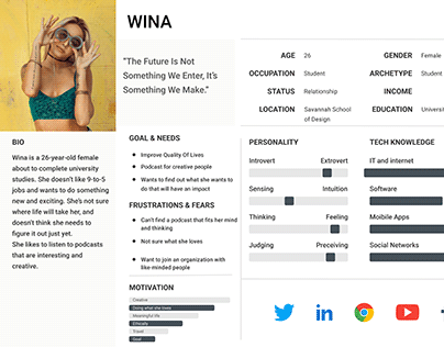 User Persona for podcast free template download