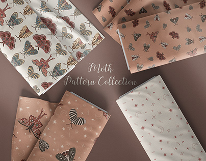 Moth seamless pattern collection