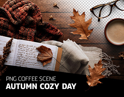 PSD file - Autumn coffee scene