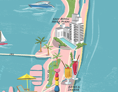 Miami Illustrated Map for Soho House