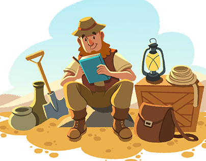 Archeology- Didactic book illustration