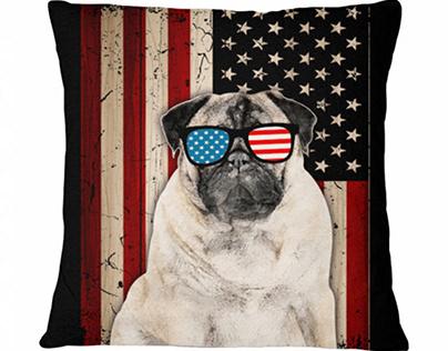Patriotic Pug Sunglasses American Flag Dog Breeds