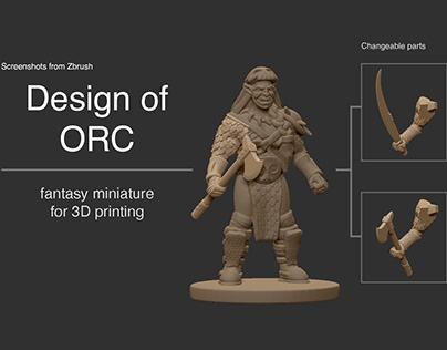 3D design of Orc. Fantasy miniatures