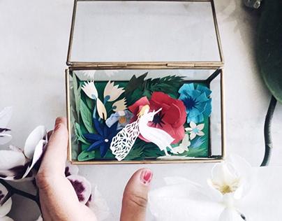 Glass box with Thumbelina