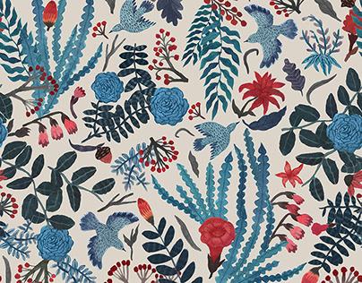 Blue Birds. textile design for Varvara