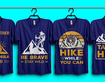 Hiking T-shirt Design Bundle.