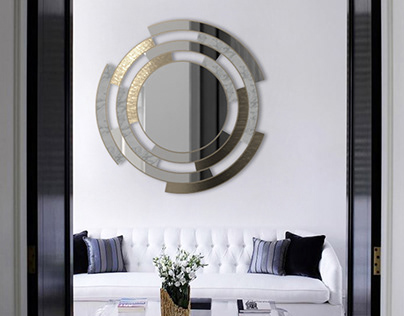 Twist | Metal and Marble Mirror - Living Room