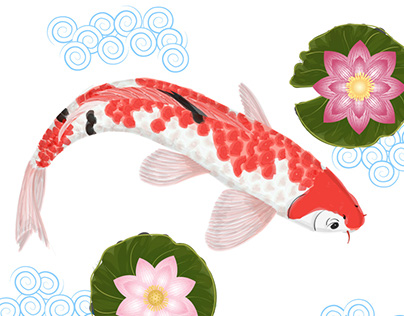 Design with koi carp patterns in the Japanese style