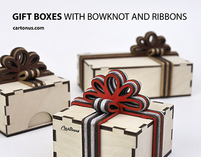 Gift boxes with layered wooden bowknot and ribbons