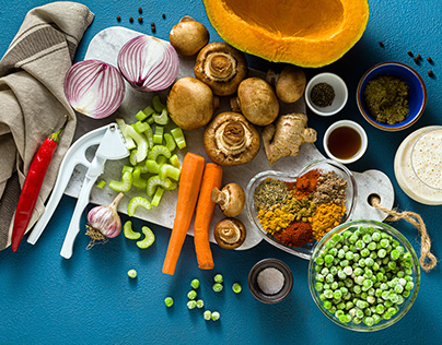Ingredients for cooking Indian curry from vegetables
