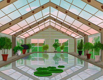 Greenhouse with pond | foliage and background study