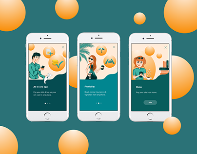 Onboarding screens for mobile app & illustrations