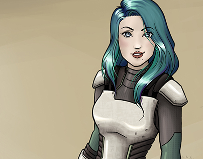 Lieutenant Commander Jessman5 in her new spacesuit.