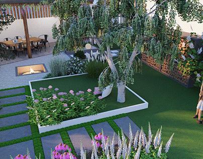 Nowoczesny mały ogród z drewnianą altaną