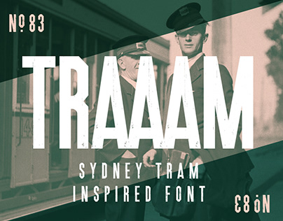 Traaam - A Sydney Tram inspired distressed font