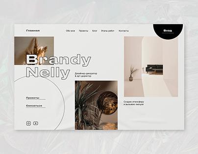 Website for designer decorator. First page