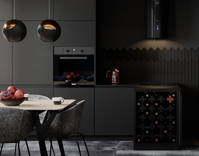 Contemporary apartment with black kitchen