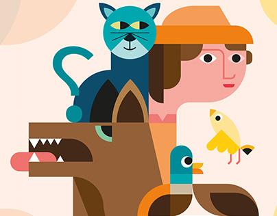Cartel teatro para niños, Pedro y el Lobo