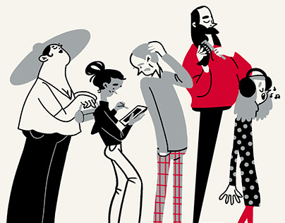 """""""The queue"""" illustrations for Yandex.Maps project"""