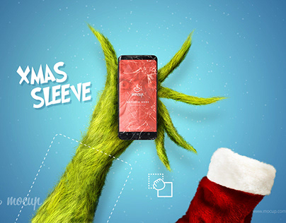 The Grinch XMAS FREE PSD Mockup
