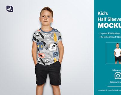 Kid's Half Sleeve Tshirt Mockup
