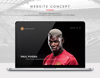 Manchester United FC UI Design Website Concept