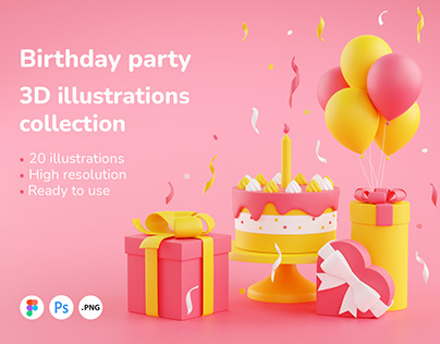Birthday party 3D illustrations collection