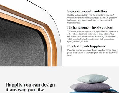 Framery Acoustics/ Website copy, digital asset creation